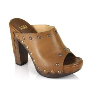 Stuart Weitzman Cognac Leather and Wood Studclogs